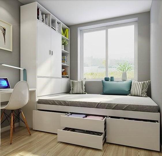 Sử dụng giường ngủ dạng bục đa năng giúp tiết kiệm tối đa diện tích phòng ngủ nhỏ
